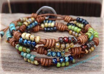 Beaded Bracelets For Women/ Seed Bead Leather Wrap Bracelet/   Etsy