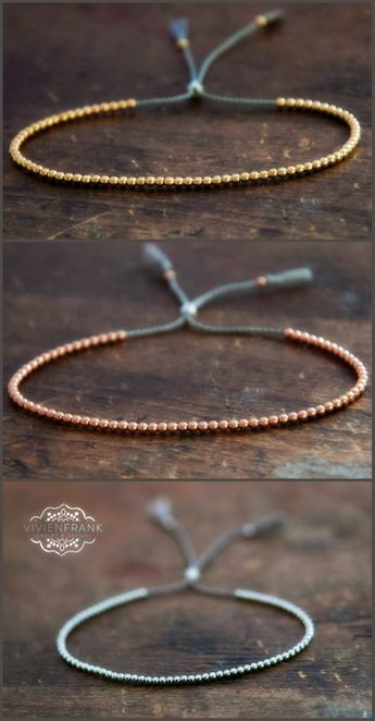 Delicate 14k solid Yellow Gold beaded bracelet
