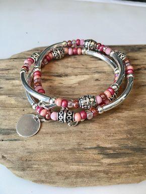 Boho Wrap Bracelet, Beaded Tube Wrap, Pink mix wrap bracelet, beaded wrap, Tibetan style/Necklace Gift for mom, daughter