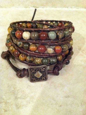 Multi-colored picasso Jasper quadruple leather wrap bracelet, chan luu style