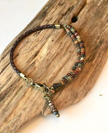 Leather Bracelet, Natural Earth Jasper Heishi disc beads, Wrap Bracelet, Natural Red jasper Stone, Wrap Bracelet, Boho Leather bracelet