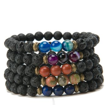 Buy Black Lava Natural Stone 8 Reiki Chakra Stackable Beads Bracelet at The House of Awareness for only $ 10.00