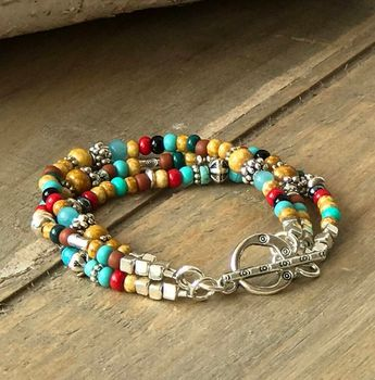 Choose this great looking triple strand bracelet to wear on its own, as a stacking bracelet with others of your favorite Sundance style bracelets or pair it with its coordinating turquoise silver necklace and southwest earrings from here at connectionsbymaya (See links below.)! Any
