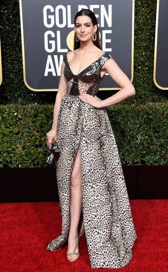 Anne Hathaway from 2019 Golden Globes Red Carpet Fashion