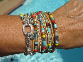 Boho Endless Leather Wrap Bracelet  Desert Cactus by fleurdesignz