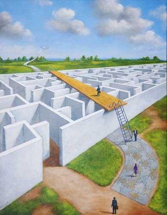 : : labyrinth : : Rafal Olbinski, Maze. Now that's smart thinking.