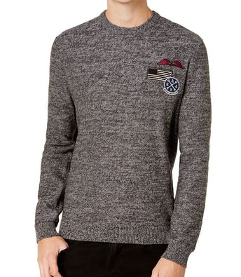 f08a5876 American Rag NEW Black Mens Size XL Marled Patch Crewneck Sweater $40 #259  #fashion