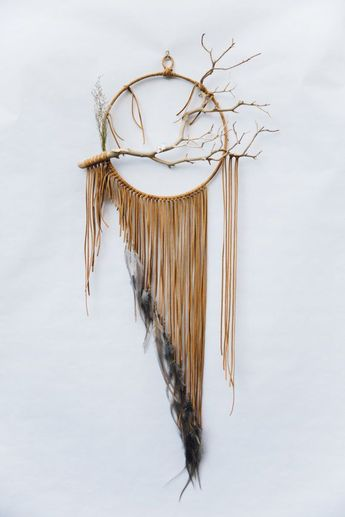 """Branch Dreamcatcher, Falcon - 12"""", large, gray and tan leather dream catcher #handmade"""