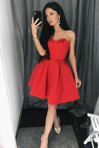 3ea8f9b55c25 A-Line Sweetheart Above-Knee Red Satin Homecoming Dress with Pleats Party  Dress L0842