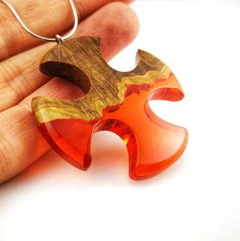Wooden Cross Necklace, Handmade Wood Resin Necklace, Wood Resin Jewelry, Cross Necklace Men, Collier Homme