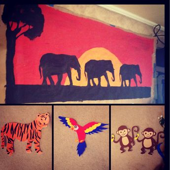 Jungle Safari VBS decorations Cute, will need lots of Brown shipping paper.