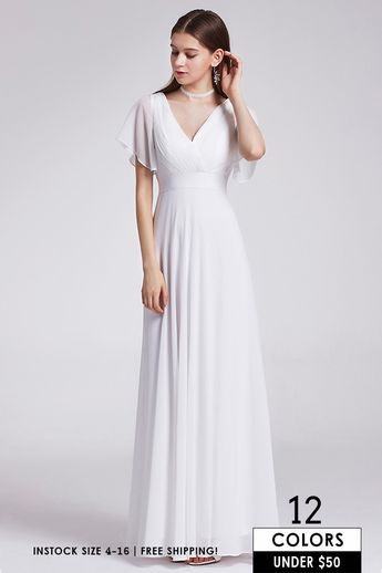 7ca5b1011fb62 Empire V-neck Chiffon Sweep Train Bridesmaid Dress With Sleeves #EP09890BD  $47 - GemGrace