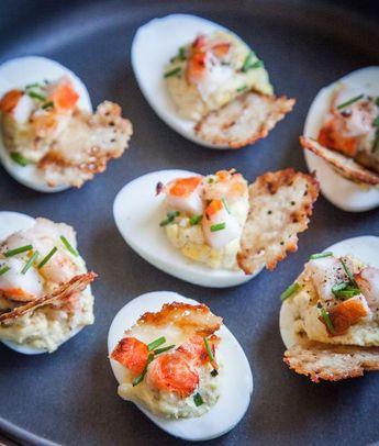 Lobster & Chives Deviled Eggs with Truffle Salt & Parmesan Crisp | Close…