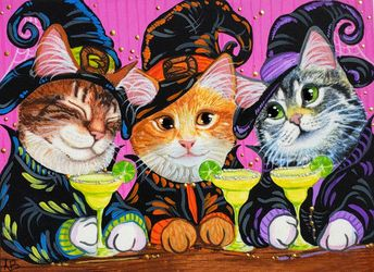ACEO Original Cat Kitty Tabby Witch Witches Halloween Art Painting Anne Berbling #Miniature