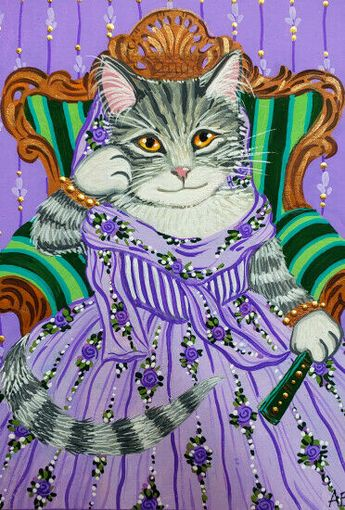 ACEO Original Art Cat Kitty Gray Tabby Purple Hats Victorian Fantasy A.Berbling #Miniature