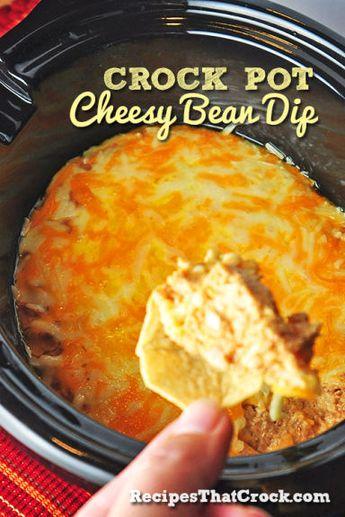 Crockpot Cheesy Bean Dip - Recipes That Crock!