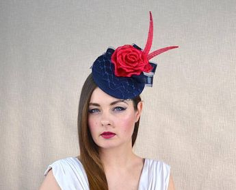 538d5e062ff3d Navy Blue Pillbox Hat with Veil and Red Silk Abaca Rose - Blue and Red  Fascinator