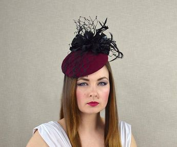 90b62d3ee82b6 Burgundy Felt Hat with Leather Flowers and Veil - Cocktail Hat - Fascinator  Hat - Mother