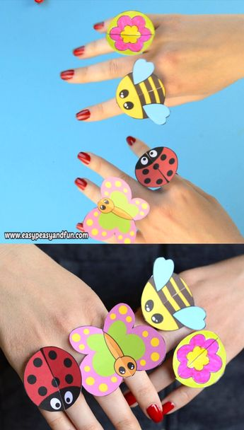 Printable Bug Paper Rings for Kids - Craft Template