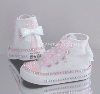 7bcf6c9a0480 Baby Toddler Girls Custom Crystal  Bling  Converse - Double Row Crystals All