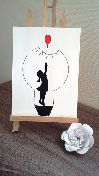 "Poster Illustration black and white bulb ""red balloon"""