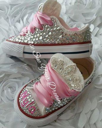 6b964d57df1d Swarovski Crystal Design Princess Converse Shoes - Bling Shoes - Princess Converse  Shoes - Flower Girl