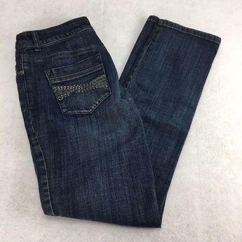 7d47dbaa Chico's Platinum Jeans Size 0.5 6 Reg Ultimate Fit Slim Leg Embellished  Pockets