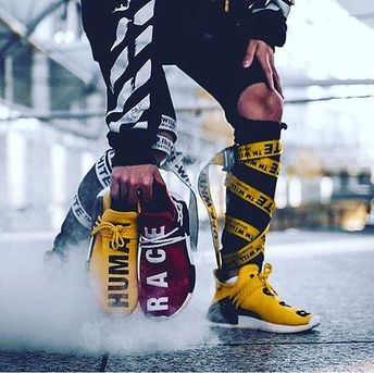 Mens size Human Race Adidas HU Yellow / PW unauthorized sneakers
