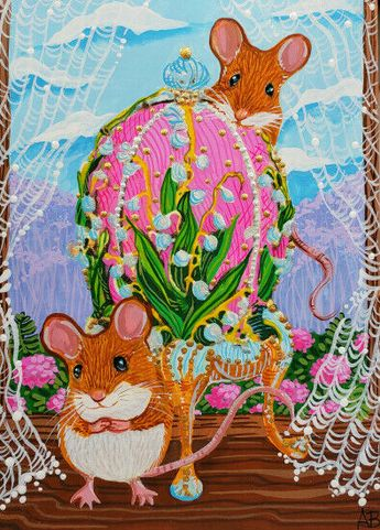 ACEO Original Art Mice Mouse Egg Spring Easter Cute Miniature Animals A.Berbling #Miniature