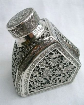"""wasbella102: """" Antique Persian/Islamic Solid Silver Pierced & Engraved Inkwell """""""