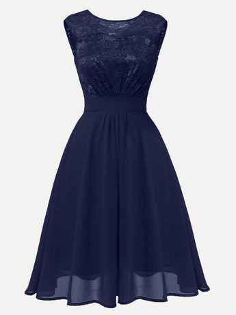 29da3007c555 Vinfemass Round Neck Lace Chiffon Patchwork Sleeveless Party Skater Dress