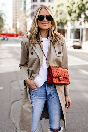 5b029057d1ca91 Fashion Jackson Wearing Everlane Trench Coat White Tshirt Red Chanel  Handbag Ripped Jeans