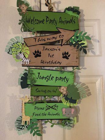 Jungle party door sign