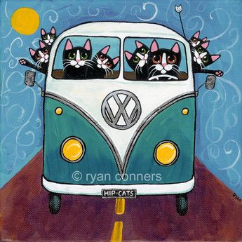 Road Trip Bus Cats Ryan Conners