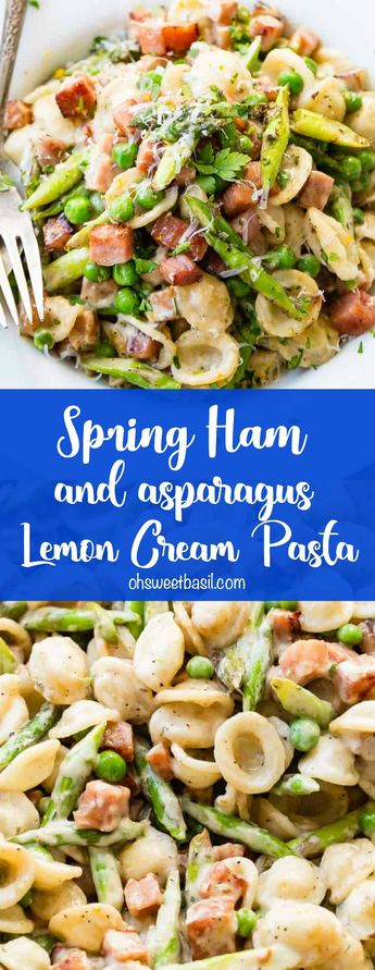 Whether you have leftover ham you need to use or you just don't want a whole ham for Easter this Spring Ham and Asparagus Lemon Cream Pasta is perfection.  #ham #pasta #lemon #asparagus #spring #Easterrecipe #easydinner #easyweeknightdinner