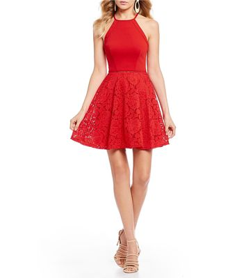 9011785273 Shop for B. Darlin High-Neck Lace Skirt Fit-And-Flare Dress