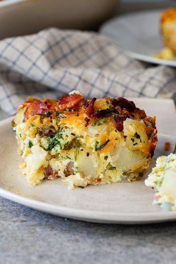 Cheesy bacon potato breakfast casserole