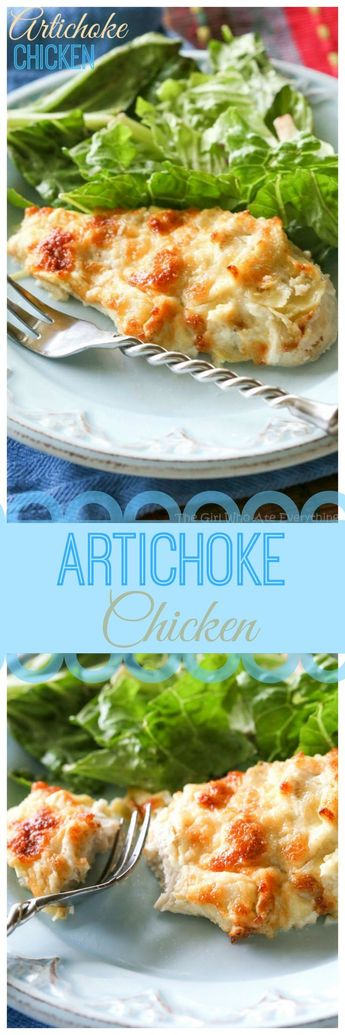 I've been making this Artichoke Chicken since college. With only a couple of ingredients, it tastes like artichoke dip on top of chicken. the-girl-who-ate-everything.com