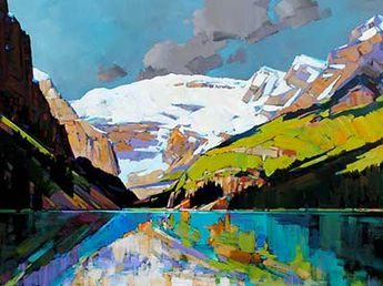 """""""Lake Louise"""" 30"""" x 40"""" Acrylic on Canvas by Min Ma, available at Crescent Hill Gallery in Mississauga, ON"""
