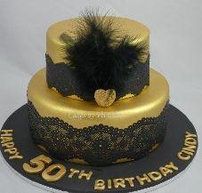 Great Gatsby Black Gold 50th Birthday Cake