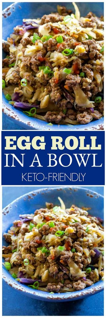 This Egg Roll in a Bowl comes together in 15 minutes and is packed with protein and flavor. #pork #beef #healthy #keto #ketorecipes the-girl-who-ate-everything.com