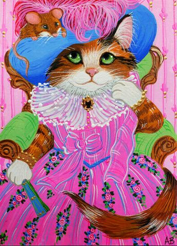 ACEO Original Art Cat Kitty Calico Mouse Hats Pink Victorian Fantasy A.Berbling #Miniature