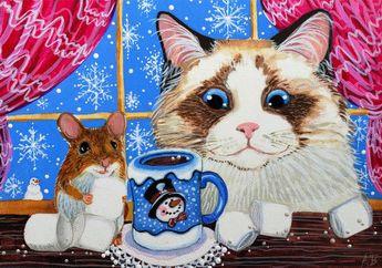 ACEO Original Cat Mouse Ragdoll Mouse Hot Chocolate Marshmallow Snow A.Berbling #Miniature