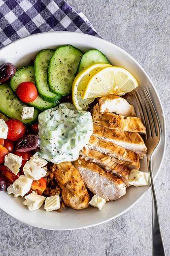 Easy Greek chicken grain bowl