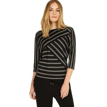 d5810f5f Phase Eight Black & Grey Carrah Stripe Top Size UK 14 rrp 45 DH083 UU 15