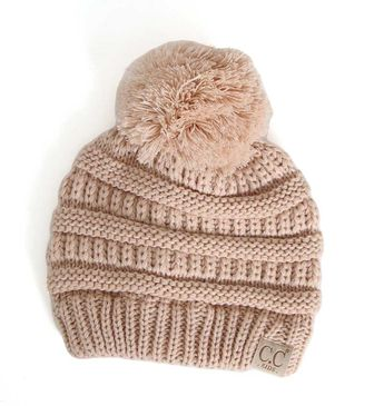 0e0e448c1a449 C.C. Beanie Cable Knit Beanie with Pompom for Kids in New Beige  YJ847POM-NEWBEIGE