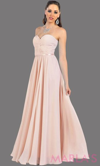 26497644adc2 Marla's Fashion Dresses @marlasfashions. Long Blush flowy strapless dress  with corset back. This is a perfect full length dress