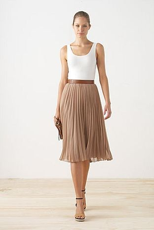 Spring Inspiration   Elegant casual look with long pleated skirt, simple tank, nude shoes #outfitideas #skirt #springfashion #summerstyle