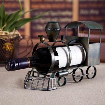 Best and cheap army green Tooarts Train Wine Rack Practical Sculp Home Decor - Tooarts.com
