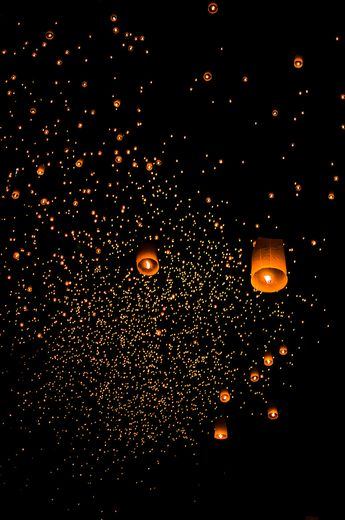 Chinese Wishing Lanterns at Loy Krathong Festival, Chiang Mai, Thailand